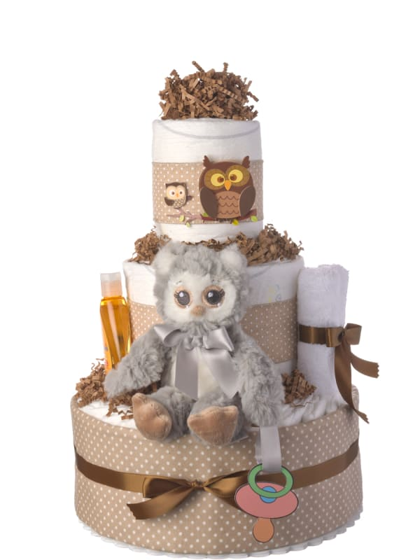 Three Tier Lil Gray Owl Diaper Cake