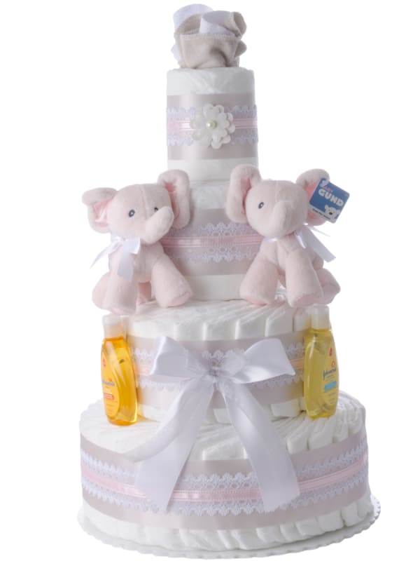 Pink Baby Elephant Twins Diaper Cake for Girls