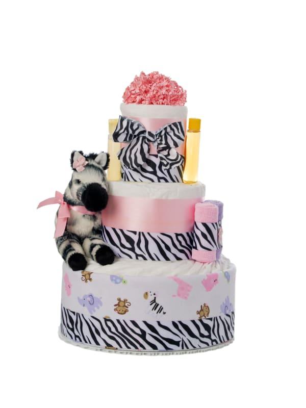 Pink Safari 3 Tier Diaper Cake
