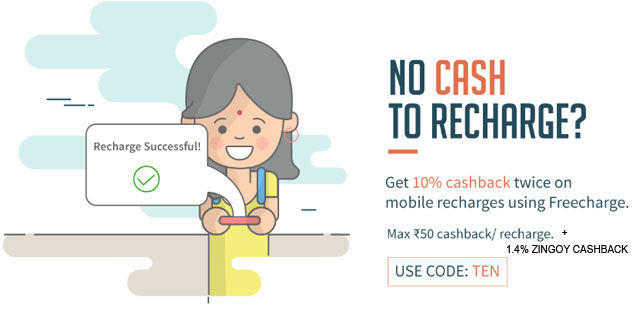 Freecharge 10  cashback uzxdib