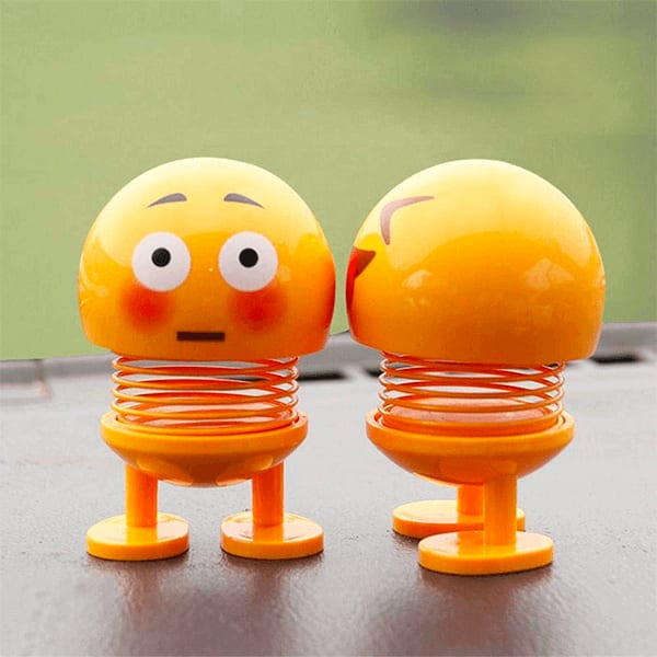 Cute Spring Assorted Emoji Head Dolls for Car Interior (pack of 2)