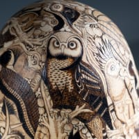 Amazon Jungle - finely carved gourd art