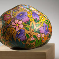 Flowers & Butterflies - finely carved & painted gourd art