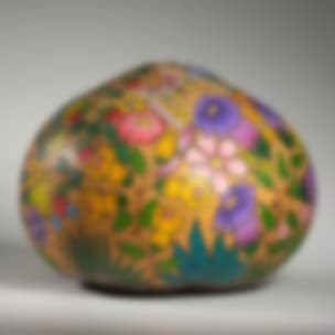 Flowers and Butterflies - finely carved and painted gourd art