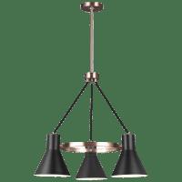 Towner Three Light Chandelier Satin Brass Bulbs Inc