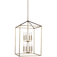 Perryton Large Eight Light Hall / Foyer Satin Brass Bulbs Inc