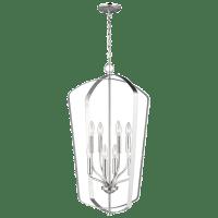 Romee Large Eight Light Hall / Foyer Brushed Nickel Bulbs Inc
