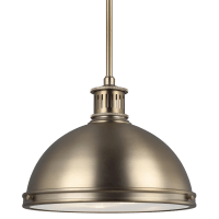 Pratt Street Metal Medium LED Pendant Satin Brass Bulbs Inc