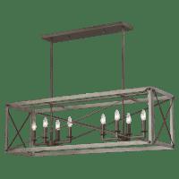 Thornwood Eight Light Island Pendant Washed Pine Bulbs Inc