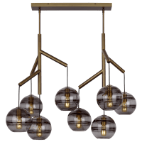 Sedona Double Chandelier Double Transparent Smoke Aged Brass no lamp