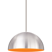 Powell Street Pendant Satin Nickel/Sunrise Orange Black No Lamp
