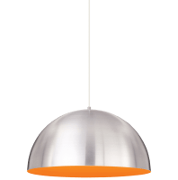 Powell Street Pendant Satin Nickel/Sunrise Orange White No Lamp