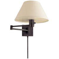 Classic Swing Arm Wall Lamp in Bronze with Linen Shade