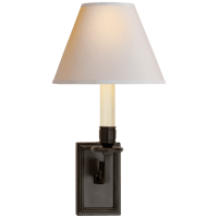 Dean Library Sconce in Gun Metal with Natural Paper Shade