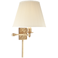 Gene Swing Arm in Natural Brass with Silk Shade