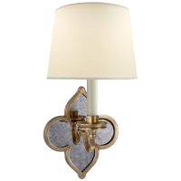 Lana Single Sconce in Natural Brass and Antique Mirror with Natural Percale Shade