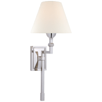 Jane Medium Single Tail Sconce in Polished Nickel with Linen Shade
