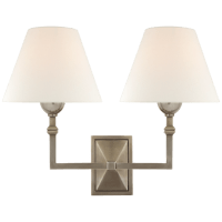Jane Double Sconce in Antique Nickel with Linen Shade