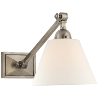 Jane Single Library Wall Light in Antique Nickel with Linen Shade