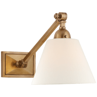 Jane Single Library Wall Light in Hand-Rubbed Antique Brass with Linen Shade