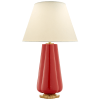 Penelope Table Lamp in Berry Red with Natural Percale Shade
