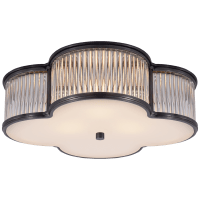 """Basil 17"""" Flush Mount in Gun Metal and Clear Glass Rods with Frosted Glass"""