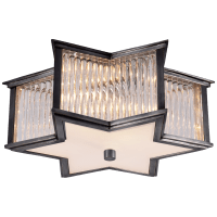 Sophia Small Flush Mount in Gun Metal and Clear Glass Rods with Frosted Glass