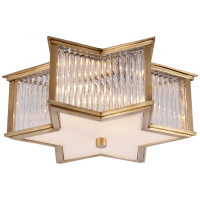 Sophia Small Flush Mount in Natural Brass and Clear Glass Rods with Frosted Glass