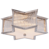 Sophia Small Flush Mount in Polished Nickel and Clear Glass Rods with Frosted Glass