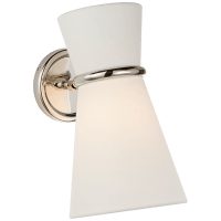 Clarkson Small Single Pivoting Sconce in Polished Nickel with Linen Shade