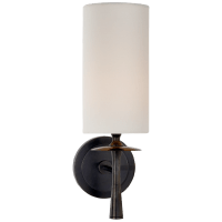 Drunmore Single Sconce in Bronze with Linen Shade