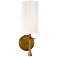 Drunmore Single Sconce in Hand-Rubbed Antique Brass with White Glass Shade