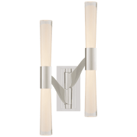 Brenta Large Double Articulating Sconce in Polished Nickel with White Glass