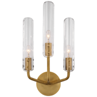 """Casoria 17"""" Triple Sconce in Hand-Rubbed Antique Brass with Clear Glass"""
