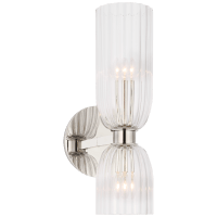 """Asalea 16"""" Double Bath Sconce in Polished Nickel with Clear Glass"""