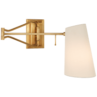 Keil Swing Arm Wall Light in Hand-Rubbed Antique Brass with Linen Shade