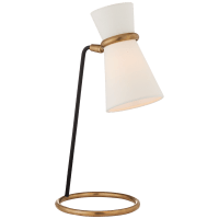 Clarkson Table Lamp in Hand-Rubbed Antique Brass and Black with Linen Shade