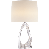 Cannes Table Lamp in Clear Glass with Linen Shade