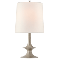 Lakmos Medium Table Lamp in Burnished Silver Leaf with Linen Shade