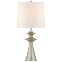 Lakmos Large Table Lamp in Burnished Silver Leaf with Linen Shade