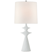 Lakmos Large Table Lamp in Plaster White with Linen Shade