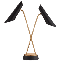 Franca Double Pivoting Task Lamp in Hand-Rubbed Antique Brass with Black Shades