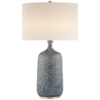 Culloden Table Lamp in Blue Lagoon with Linen Shade