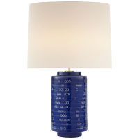 Darina Large Table Lamp in Pebbled Blue with Linen Shade