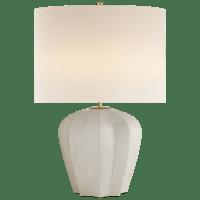 Pierrepont Medium Table Lamp in Bone Craquelure with Linen Shade