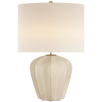 Pierrepont Medium Table Lamp in Stone White with Linen Shade