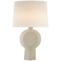 Nicolae Large Table Lamp in Volcanic Ivory with Linen Shade