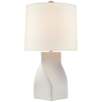 Claribel Large Table Lamp in Porous White with Linen Shade
