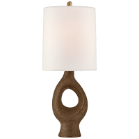 Capra Medium Table Lamp in Chalk Burnt Gold with Linen Shade