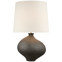 Celia Large Left Table Lamp in Stained Black Metallic with Linen Shade